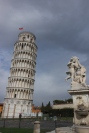 the leaning tower & fountain with angels