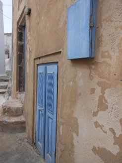 colorful pastel doors every five steps