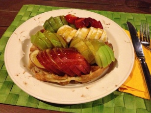 fresh fruit + honey = waffle heaven