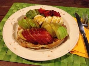 fresh fruit + honey = waffle heaven