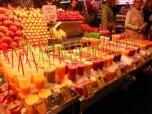 fresh fruit drinks on ice at la boqueria market