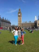 with the girls in parliament square